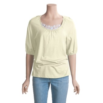 Lauren Hansen Modal-Cotton Shirt - Short Puff Sleeve (For Women) in Vanilla