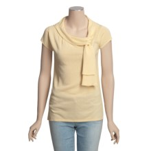 Lauren Hansen Shirred Cotton Tunic Shirt - Short Sleeve (For Women) in Chamois - Closeouts