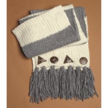 Lauren Hansen Wool-Alpaca Long Scarf - Button Detail (For Women) in Grey/Ivory - Closeouts