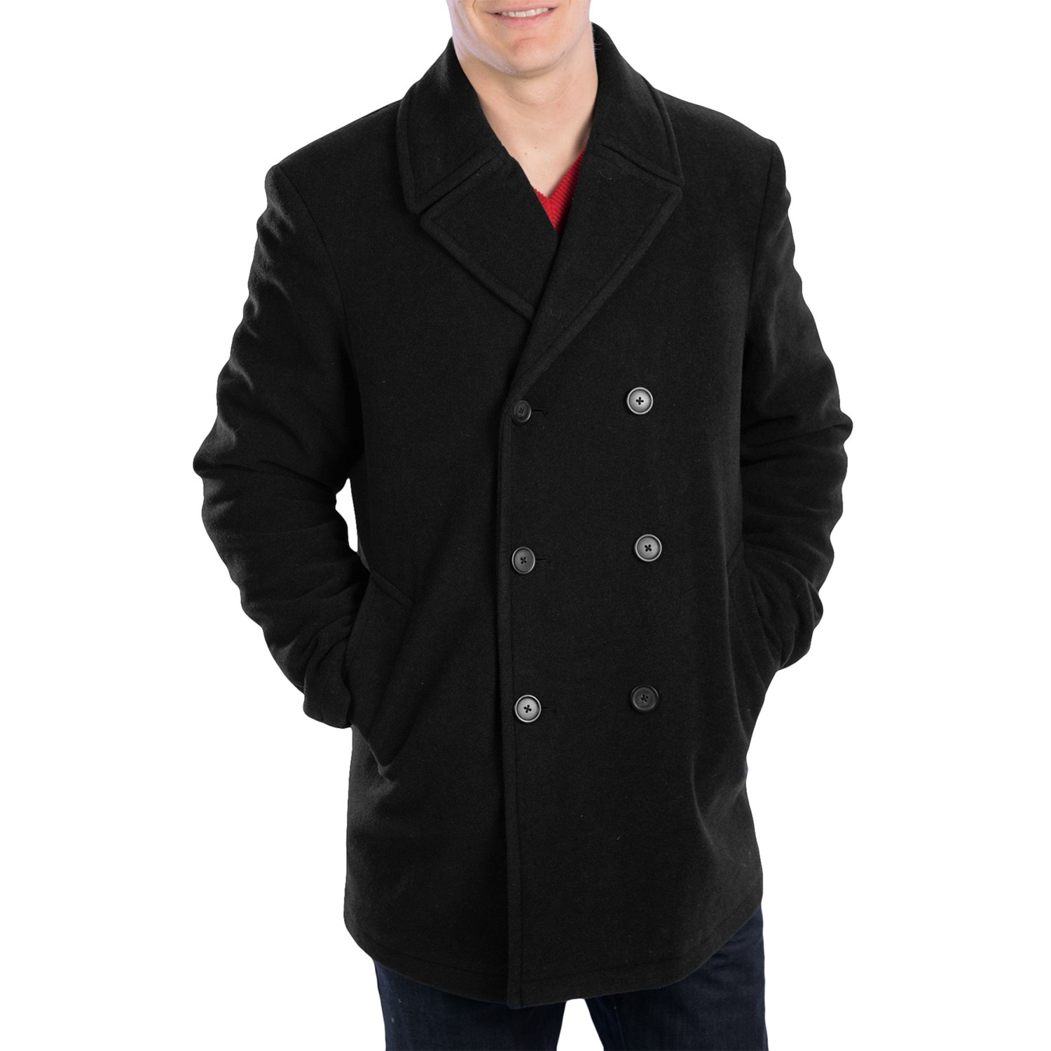 A peacoat is a classic men's coat, taking its cue from a naval jacket. Hovering between casual and business appropriate, typical peacoat colors include black and navy, but it can also be seen in plaid, olive green, and even denim.