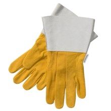 Laurentide Buckskin Work Gloves - Protective Cuff (For Men) in Tan W/Grey Cuff - Closeouts