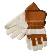 Laurentide Double-Palm Gloves - White Deerskin (For Men) in White/Brown - Closeouts