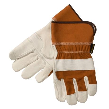 Laurentide Double-Palm Gloves - White Deerskin (For Men) in White/Brown