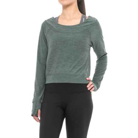 Layer 8 Barre Crop Top - Long Sleeve (For Women) in Balsam Green Stripe - Closeouts
