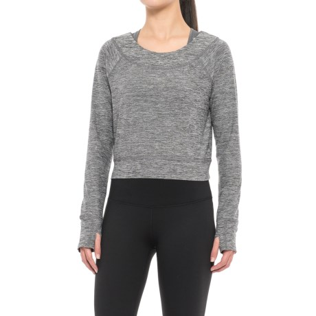 Layer 8 Barre Crop Top - Long Sleeve (For Women) in Charcoal Grey Stripe