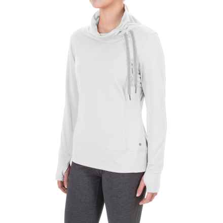Layer 8 Blissful Cowl Neck Shirt - Long Sleeve in Arctic White/Soft Silver - Closeouts