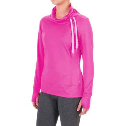 Layer 8 Blissful Cowl Neck Shirt - Long Sleeve in Neon Flamingo - Closeouts