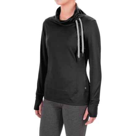 Layer 8 Blissful Cowl Neck Shirt - Long Sleeve in Rich Black/Ebony - Closeouts
