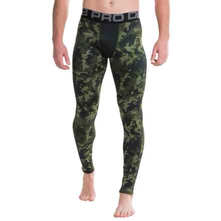 Layer 8 Cold Gear Printed Tights (For Men) in Olive Heather Camo - Closeouts