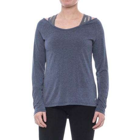 Layer 8 Collar-Cutout Shirt - Long Sleeve (For Women) in Midnight Blue