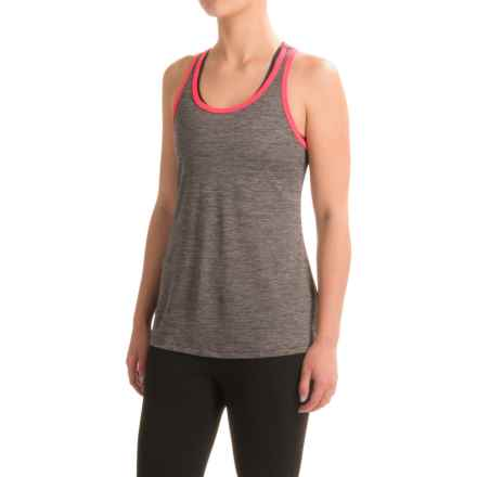 Layer 8 Cool Keyhole Tank Top - Racerback (For Women) in Charcoal Grey Heather/Pink Glam - Closeouts