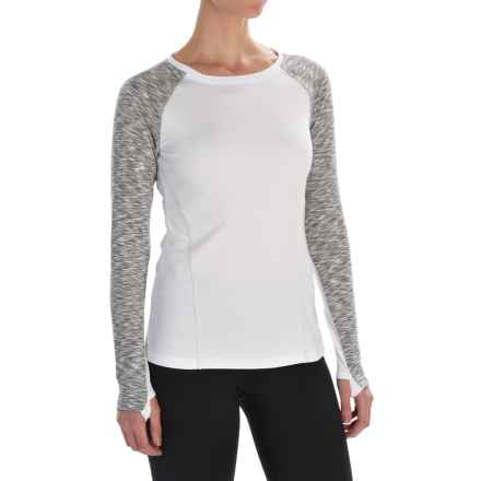 Layer 8 Cozy Crew Neck Shirt - Long Sleeve (For Women) in Arctic White/Soft Silver Straited - Closeouts