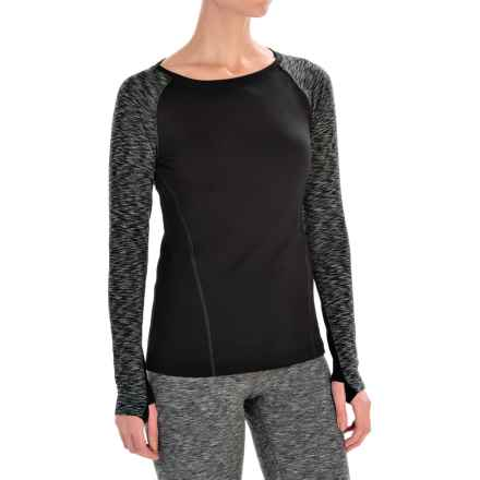 Layer 8 Cozy Crew Neck Shirt - Long Sleeve (For Women) in Rich Black/Greystone Straited - Closeouts