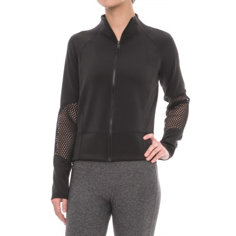 Layer 8 Cropped Knit and Mesh Jacket (For Women) in Rich Black