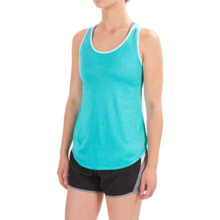 Layer 8 Double-Layer Tank Top - Racerback (For Women) in Peacock Heather/Blue Tint - Closeouts