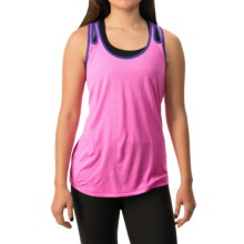 Layer 8 Double-Strap Singlet Tank Top - Racerback (For Women) in Neon Flamingo Heather/Violet Jewel - Closeouts
