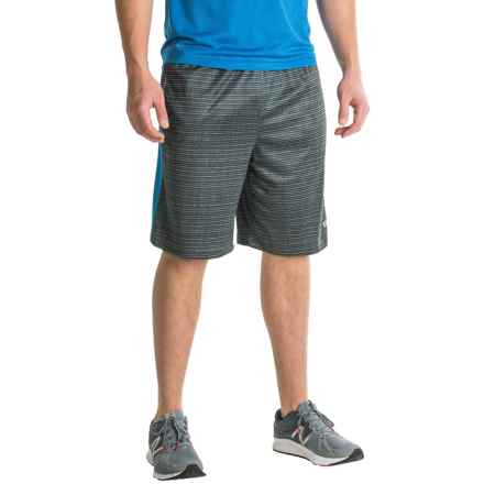 Layer 8 Heathered Training Shorts (For Men) in Lead Grey Linear Print/Blue Thrill - Closeouts