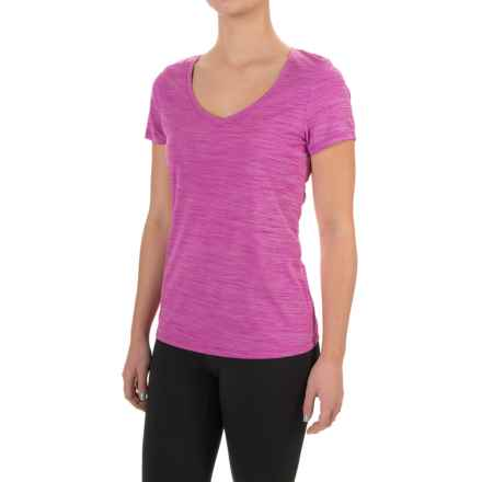 Layer 8 Heathered V-Neck Shirt - Short Sleeve (For Women) in Berry Blast Heather - Closeouts