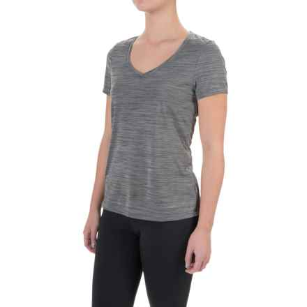 Layer 8 Heathered V-Neck Shirt - Short Sleeve (For Women) in Charcoal Grey Heather - Closeouts
