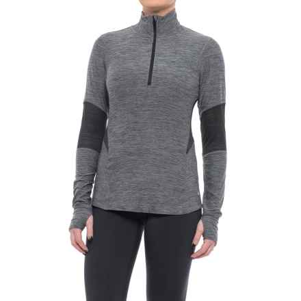 Layer 8 Kick It Qzip Shirt - Long Sleeve (For Women) in Charcoal Grey