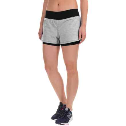 Layer 8 Knit Running Shorts - Built-In Liner Shorts (For Women) in Grey Flannel Heather/Rich Black - Closeouts