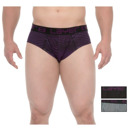 Layer 8 Low-Rise Briefs - 3-Pack (For Men) in Quiet Shade/Purple/Black