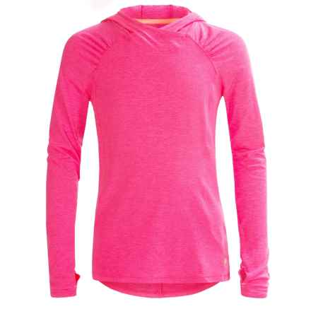 Layer 8 Lux Hoodie (For Big Girls) in Pink Flash Heather/Vivid - Closeouts