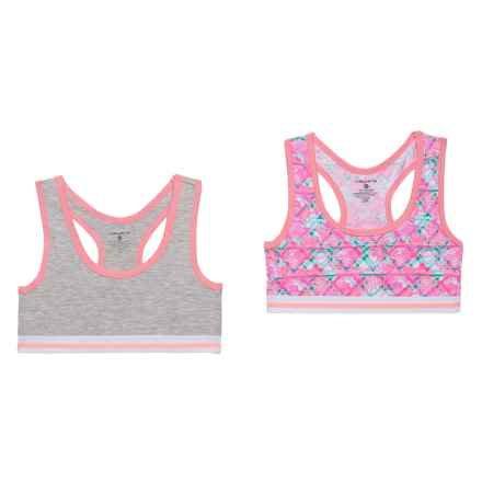 Layer 8 Racerback Sports Bra - Low Impact, 2-Pack (For Big Girls) in Pink Garden/Heather Grey - Closeouts
