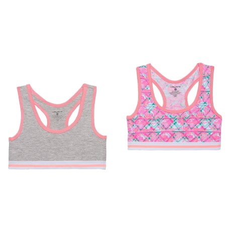 Layer 8 Racerback Sports Bra - Low Impact, 2-Pack (For Big Girls) in Pink Garden/Heather Grey