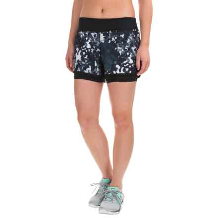 Layer 8 Running Shorts - Built-In Liner Shorts (For Women) in Rich Black-White Print/Rich Black - Closeouts