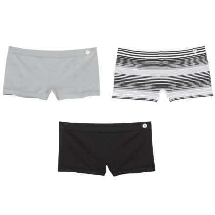 Layer 8 Seamless Panties - Boy Shorts, 3-Pack (For Big Girls) in Grey Stripe/Black/Heather Grey - Closeouts