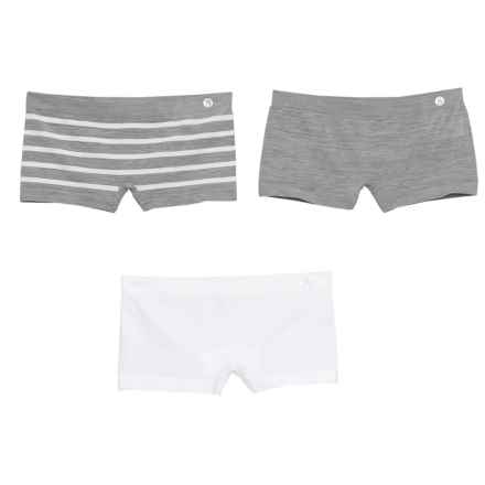 Layer 8 Seamless Panties - Boy Shorts, 3-Pack (For Big Girls) in White Stripe/White/Heather Grey - Closeouts