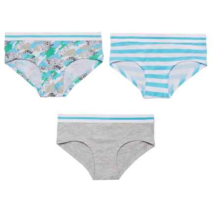 Layer 8 Stretch Cotton Panties - Boy Shorts, 3-Pack (For Big Girls) in Blue Camo/Heather Grey/Bluesky Stripe - Closeouts