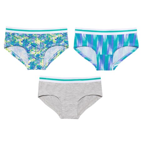 Layer 8 Stretch Cotton Panties - Boy Shorts, 3-Pack (For Big Girls) in Jade Streak