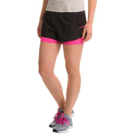 Layer 8 Stretch-Woven Shorts (For Women) in Rich Black/ Neon Flamingo - Closeouts