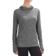 Layer 8 Striated Hooded Shirt - Long Sleeve (For Women) in Charcoal Heather Straited - Closeouts