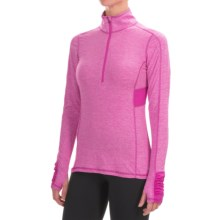 Layer 8 Striated Zip Neck Shirt - Long Sleeve (For Women) in Berry Blast Heather - Closeouts