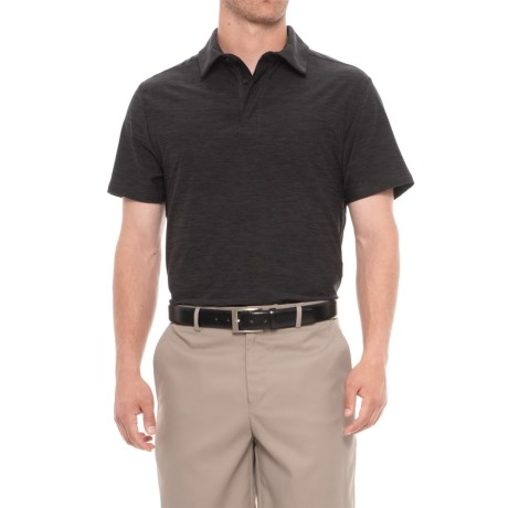 Layer 8 Sueded Stretch Heather Polo Shirt - Short Sleeve (For Men) in Black Heather