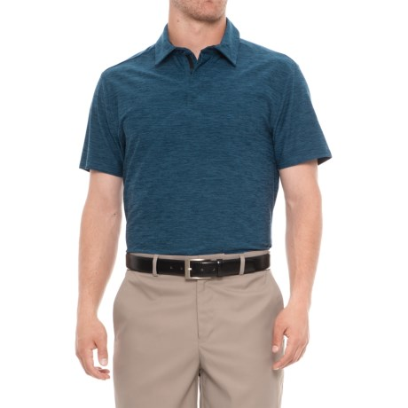 Layer 8 Sueded Stretch Heather Polo Shirt - Short Sleeve (For Men) in Blue Heron Heather