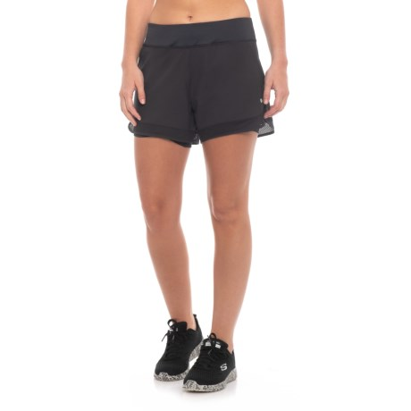 Layer 8 Woven Shorts with Knit Waistband (For Women) in Rich Black