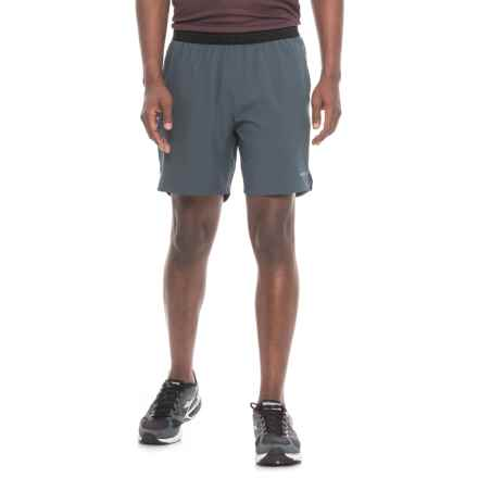 """Layer 8 Woven Stretch Shorts - Built-In Briefs, 7"""" (For Men) in Dark Shadow/Black - Closeouts"""