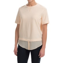 Layered Chiffon T-Shirt - Short Sleeve (For Women) in Pastel Peach - 2nds