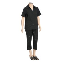 Layered Embroidered Shirt and Capri Set (For Plus Size Women) in Black - 2nds