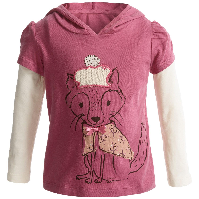 Layered Hooded Shirt Long Sleeve For Infant Girls