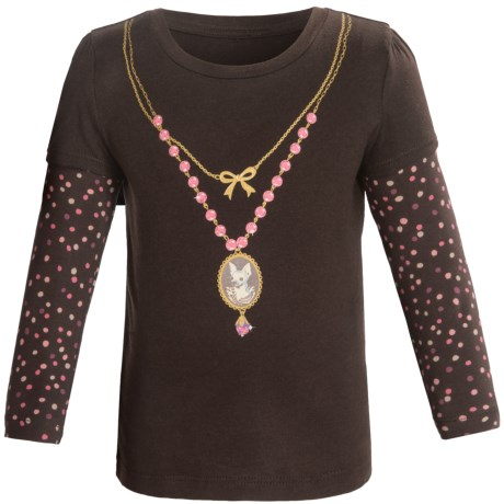 Layered Sleeve Shirt - Cotton, Long Sleeve (For Infant and Toddler Girls) in Brown Chihua