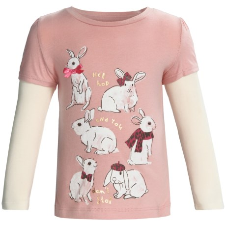 Layered Sleeve Shirt - Cotton, Long Sleeve (For Infant and Toddler Girls) in Pink Bunnies