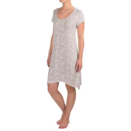 Layla Rayon Jersey Sleep Shirt - Short Sleeve (For Women) in Grey Paisley - Closeouts
