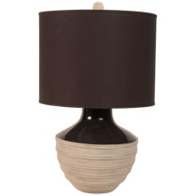 Lazy Susan Corrugated Trophy Lamp in Tan/Black W/Brown Shade - Closeouts