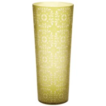 "Lazy Susan Etched Glass Vase - 17-3/4"" in Kiwi Green - Closeouts"