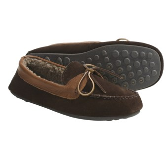L.B. Evans Dylan Moccasin Slippers - Sherpa-Lined, Suede (For Men) in Chocolate